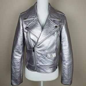 Silver Metallic Moto Leather Jacket Crop New Years